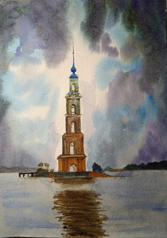 Интенсив по акварельному пейзажу с Татьяной Тожокиной. День.Башня в Калязине.