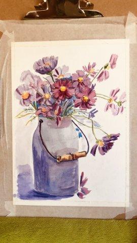 Цветы в бидоне