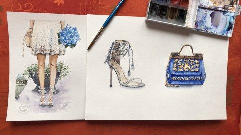марафон шпильки, сумочка и юбка