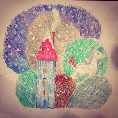 """Марафон """"Уютные иллюстрации"""". Урок №1: Зимний пейзаж"""