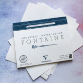 Бумага формат А4 (бумага для акварели, 300 гр/м2. Рекомендуемые производители:   Fabriano, Canson, Arches).